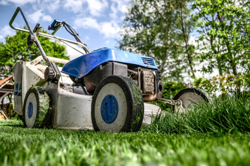 lawn mower trimming the grass