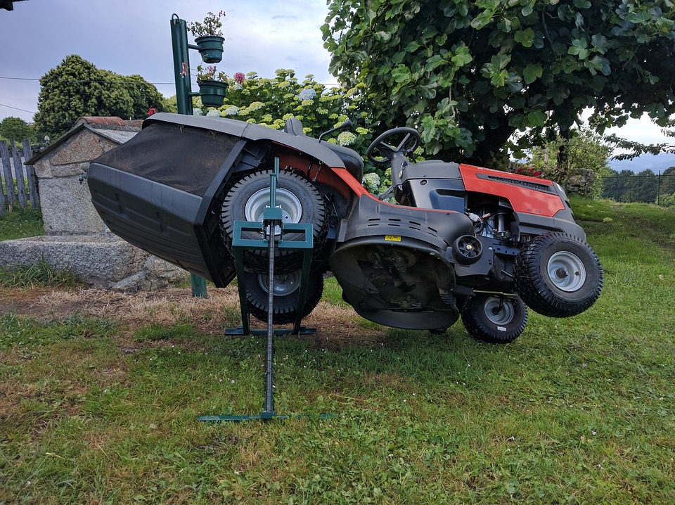 tilted lawn mower