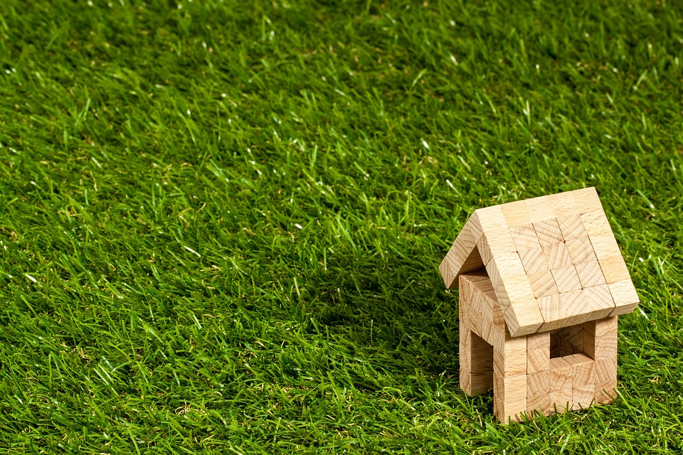 grass with a miniature wooden house